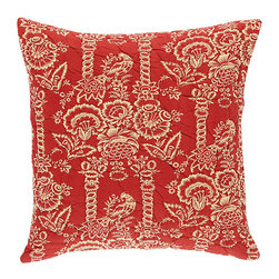 """Ballard Designs - Vintage Red Quilted Bird Pillow Cover Only - 20"""" - Coordinates with our Vintage Red Quilted Stripe Pillow. 2200-gram cotton fill. Knife-edge & hidden zipper. 100% cotton flax colored back. Luxurious feather down insert sold separately. The bird and floral motif was inspired by a piece of vintage fabric from the Ballard library. Our Vintage Red Quilted Bird Pillow Cover is made of soft 100% cotton and is hand quilted to follow the pattern for rich depth and texture.Vintage Red Quilted Bird Pillow Cover features: . . . . ."""