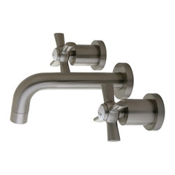 """Kingston Brass - Kingston Brass Millennium Satin Nickel Vessel Sink Faucet KS8128ZX - This wall-mount faucet can be used as a kitchen or vessel application, its 8"""" projection makes this faucet a versatile option, because of it's tubular spout and cylindrical base escutcheons this faucet will feel right at home in any contemporary setting. . Manufacturer: Kingston Brass. Model: KS8128ZX. UPC: 663370284649. Product Name: Kingston Brass Millennium Vessel Sink Faucet, Satin Nickel. Collection / Series: Millennium. Finish: Satin Nickel. Theme: Modern. Material: Brass. Type: Bathroom Faucet. Features: Max 2.0GPM/7.6LPM At 60PSI"""