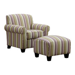 PORTFOLIO - Portfolio Mira Amethyst Purple Stripe Arm Chair and Ottoman - Sit back and relax after work in this comfortable chair and ottoman. The purple stripe makes it ideal for a sitting room or office,and it has a hardwood construction for added durability. The compact size makes it ideal for small spaces.