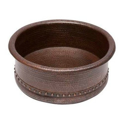 Premier Copper Products - Round Vessel Tub Copper Sink - BRAND: Premier Copper ProductsUncompromising quality, beauty, and functionality make up this Premier 15 in. Round Vessel Tub Hammered Copper Sink with 1.5 in. Drain Opening. FEATURES: