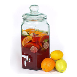 Couronne Co. - 1.72 Gallon Hexagonal Beverage Jar with Metal Spout - Celebrate the Holidays or any family gathering by serving spiced punch, iced tea or sangria in this 220 oz recycled glass jar with metal spout and heavy duty plastic turn. Guest may help themselves by using the metal spigot to start the leak proof smooth flow. Hexagonal Shaped and safe for hot and cold liquids, this jar will create a beautiful serving and entertaining piece at your next event. This drink dispenser features a lid with rubber gasket for durable entertaining. * Made in Spain with recycled glass * Glass Can Sweat; place on a temperature safe surface. * 1.72 Gallons