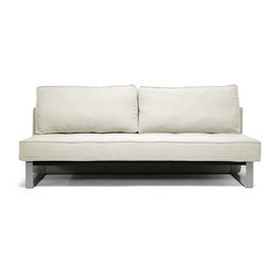 "Baxton Studio - Baxton Studio Shelby Beige Linen Modern Sofa Bed - The simplicity of a minimalist sofa and the versatility of a sofa bed are just two reasons why the Shelby Sofa Bed is a new favorite.  This sturdy piece is made in China with a wooden frame, metal legs, foam cushioning, and beige linen upholstery.  When temporary sleeping space is a must, simply remove the backrest cushions, pull forward the seat, and fold down the backrest into a futon.  Assembly is required and spot cleaning is recommended.  The Shelby Modern Sleeper Sofa's also available in dark gray linen (sold separately).Sofa Dimensions: 79""W x 36.25""D x 25.5""H"