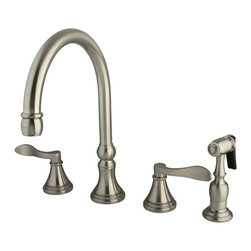 """Kingston Brass - Double Handle 8"""" Deck Mount Kitchen Faucet with Brass Sprayer - The NuFrench deck mount kitchen faucet blends elegance and beauty with its European charm. The bell-shaped escutcheons and curled lever handles display an attractive classical theme constructed in high-quality brass. Made from satin nickel, the radiance of the finish enhances the design emitting a distinctive charm that can only be known as the NuFrench style; brass water sprayer included.; Includes Brass Sprayer; 1/4 Turn Ceramic Disk Cartridge; Nu-French Lever Handle; 8"""" Gooseneck Spout with a 7"""" spout clearance; 4 Hole Installation; Material: Brass; Finish: Satin Nickel; Collection: NuFrench"""