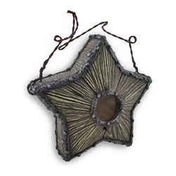 Zeckos - Wood and Metal Look Star Birdhouse with Wire Hanger - All the little birdies on YOUR street will feel like stars and love to hang out at this birdhouse Made of cold cast resin, this birdhouse is in the shape of a star and is hand-painted to look just like wood, adding a nice country chic accent to your backyard, garden or patio It has a riveted hammered-metal look trim and a whimsical metal wire hanger that only looks like weathered barbed-wire, so all your feathered friends will stay safe while enjoying the treats inside At 8 1/4 inches high, 9 inches wide and 4 1/4 inches deep, it's sure to hold plenty of food. It doesn't just have to go outside, this birdhouse would make a great accent to your indoor garden, a lonely shelf or mixed in with your favorite candle display, and would make a great gift for a bird loving friend