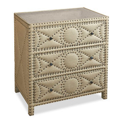 Kathy Kuo Home - Giacomo Hollywood Regency Tufted 3 Drawer Chest - A casual, natural linen chest of drawers offers stealth storage with three deep drawers. Sturdy wood construction finished with antique brass and nail head trim are stylish and simple, while practical in any bedroom, study or sitting room.