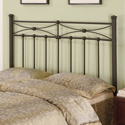 Coaster - Traditional Queen / Full Size Headboard in Black - Outfit any bedroom in your home with this rustic metal headboard that also embodies a gorgeous traditional feel. Featuring straight durable metal construction, and the ability to fit either full or queen frame and bed sizes.