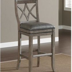 AHB Hadley Bar Stool - Not all bar stools are the same as the AHB Hadley Bar Stool proves. This stool has a solid wood frame in a contemporary glacier grey finish. Its bonded leather seat is luxurious and the full-bearing, 360-degree swivel makes it versatile.