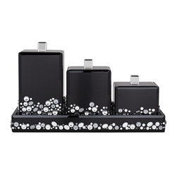 Jeweled Black 4-Piece Canisters and Tray Set -