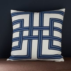 Lacefield Designs - Harbor Lattice Lacefield Pillow - Fashioned with lattice patterning, one of the hottest decorating trends, this cotton pillow-cover design adds a geometric pop to any space. Part of the Lacefield Pillow Collection. This pillow design strikes a perfect balance between comfort and sophistication, contemporary and vintage. Feather/down insert included. Concealed zipper closure. Made in USA. Size: 22 in. x 22 in. By Lacefield Designs.