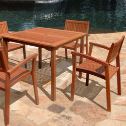 "Grandin Road - Nyla Outdoor Dining Furniture - Set includes one dining table and four armchairs. Constructed of kiln-dried, FSC-certified, high-density eucalyptus, which is extremely durable and resistant to moisture, insects, and decay. Oil-rubbed finish. Center hole accommodates a 1-1/2"" shade umbrella. Simple design complements any home exterior. Enjoy the beauty and durability of a wood dining set with our Nyla Outdoor Furniture. This 5-piece outdoor wood collection is made of premium grade, sustainably harvested Eucalyptus, renowned for its excellent resistance to everyday elements. With comfortable sloping seats, the set is ideal for outdoor dining and gatherings.  .  .  .  .  . Some assembly required . Care and cleaning: apply oil once yearly to maintain color . Imported."