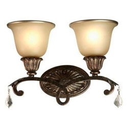"ArtCraft - ArtCraft-AC1837-Florence - Two Light Wall Sconce - Florence Two light sconce; carefully decorated with caramelized glassware that has a hand applied gold trim, and various shades of bronze finishing complemented with sparkling crystal 2Lt ""Florence"" Wall Bracket."