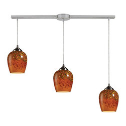 Elk Lighting - Elk Lighting 10145/3L-AUT Claudio 3-Light Pendant in Satin Nickel & Autumn Glass - 3-Light Pendant in Satin Nickel & Autumn Glass belongs to Claudio Collection by Individuality Is What Defines This Exquisite Line Of Hand Blown Glass. Each Piece Is Meticulously Hand Blown With Up To Three Layers Of Uncompromising Beauty And Style. Pendant (1)