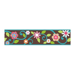 RoomMates Peel & Stick - Scroll Floral Border in Brown and Teal - Bring your walls to life with this floral scroll peel and stick wall border. Featuring bright colors and a gorgeous, trendy pattern, this border is sure to dress up any room. And because our borders are all completely removable and repositionable, you can change or move your design on a whim.