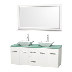 """Wyndham Collection - Centra Bathroom Vanity in White,GN Glass Top,Pyra White Sinks,58"""" Mir - Simplicity and elegance combine in the perfect lines of the Centra vanity by the Wyndham Collection. If cutting-edge contemporary design is your style then the Centra vanity is for you - modern, chic and built to last a lifetime. Available with green glass, pure white man-made stone, ivory marble or white carrera marble counters, with stunning vessel or undermount sink(s) and matching mirror(s). Featuring soft close door hinges, drawer glides, and meticulously finished with brushed chrome hardware. The attention to detail on this beautiful vanity is second to none."""
