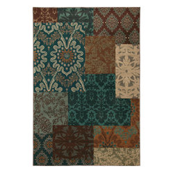 Karastan - Karastan Carmel 74700-13109 Pescadero Teal Rug - Give your living room an instance makeover with a stylish area rug. This contemporary rug tweaks the traditional floral motif by creating a patchwork of elegant patterns that work together in harmony.