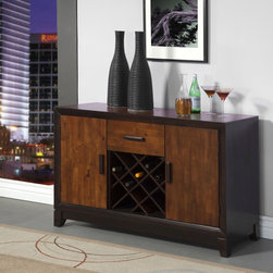 Furniture of America - Furniture of America Isa Acacia and Espresso Server with Wine Rack - A two-tone acacia and espresso finish lends modern elegance to this multi storage server. Featuring a sturdy construction that features ample storage units with a mid single drawer,and wine rack feature. Perfect piece to complete any dining décor!