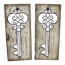 Pair of Vertical Wooden Panels with Wrought Iron Key Cutouts - This pair of identical wall hangings feature an antique wrought iron key cutout and a wonderfully distressed finish. Each one meaures 27 1/4 inches long, 12 inches wide, and 3/4 of an inch thick. Each panel mounts to the wall vertically with just 2 nails or screws by the picture hangers on the back. They add a lovely accent to walls in your home, office, or restaurant, and are sure to be admired.