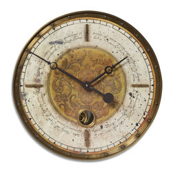 Uttermost - Leonardo Script 18 in.  Cream Wall Clock - Weathered, Laminated Clock Face With A Cast Brass Outer Rim, Brass Center Components And Internal Pendulum. Requires 1-AA Battery.