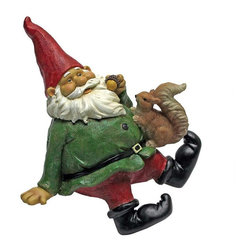 EttansPalace - Garden Gnome Shelf Sitter Statue - From The Acorn Hollow Garden Statuary Collection; When you could use a little gnome magic at your entryway, garden windowsill or pond wall, Osbert the Garden Gnome Shelf Sitter Statue is at the ready! Sporting a pointy red elf hat and fluffy gnome beard, this garden elf statue greets his squirrel friend with the same warm welcome hell extend to all visitors to your home or garden. Imaginatively sculpted, our quality designer resin garden gnome statue is hand-painted one piece at a time.