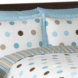 Blue & Chocolate Mod Dots Pillow Sham