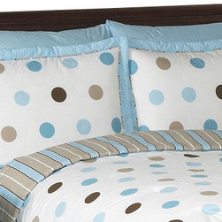 Sweet Jojo Designs - Blue & Chocolate Mod Dots Pillow Sham - The Mod Dots Blue standard pillow sham coordinates beautifully with the Sweet Jojo Designs Mod Dots Blue bedding collection. This pillow sham is a quick and easy way to complete the look and theme in your child's bedroom. Machine washable. Fits all standard size pillows.