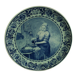 Chemkefa - Large Consigned Vintage Transferware Blue Delft Plate - Product Details