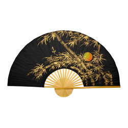 "Oriental Furniture - Bamboo Moon Wall Fan - 60"" - This traditional wall fan was constructed using split bamboo slats and sateen fabric. Hand-painted with traditional Thai art, it features a golden yellow bamboo tree under a full moon, set against a midnight black background.  This authentic Thai artwork  your home or office."