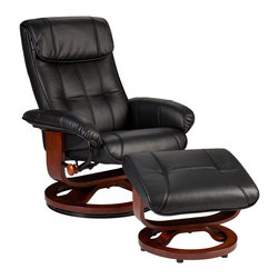 Holly & Martin - Bryce Bonded Leather Recliner and Ottoman, Black - You work too hard - have a seat! Sink into the sweet relief and luxury of this stylish black recliner and matching ottoman. The experience of the smooth bonded leather is the epitome of living well.