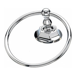 "Top Knobs - Edwardian Bath Ring - Polished Chrome - Hex Back Plate - Length - 2 1/2"", Projection - 2 7/8"", Ring/Hook Diameter - 5 1/4"""