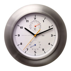Bai Design - Premium Aluminum Weather Station Wall Clock with Built-In Thermometer and Hygrom - - Aluminum bezel with anti-oxidizing coating  - Silkscreen-printed PVC dial  - Spray-painted metal hands   - Quality thermometer and hygrometer  - Assembly not required   - Manufactured in China Bai Design - 954.WS