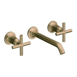 "KOHLER - KOHLER K-T14415-3-BV Purist Two-Handle Wall-Mount Lavatory Faucet Trim - KOHLER K-T14415-3-BV Purist Two-Handle Wall-Mount Lavatory Faucet Trim with 8-1/4"" Spout and Cross Handles in Brushed Bronze"