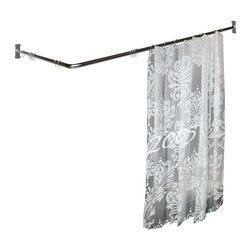 Renovators Supply - Shower Curtain Rods Bright Chrome 2 Sided Shower Curtain Rod - Chrome over brass two-sided shower rod measures 5 1/2 feet long with a 7/8 in. diameter and projects 36 in. from the wall.