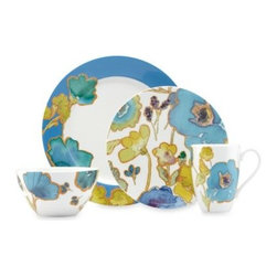 Lenox - Lenox Floral Fusion Blue 4-Piece Place Setting - Floral Fusion offers a fusion of dazzling colors and contemporary design. Flashy blues and greens are breathtaking, along with the contemporary floral motif on each piece.
