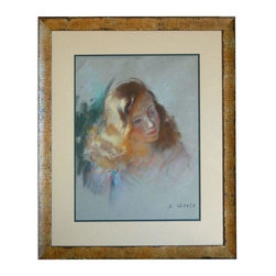 Pre-owned Mid-Century French Pastel by A. Genta - Excellent work of art created with pastels on paper from the 1940's signed A. Genta. The work highlights the ability of the artist to capture light and mood with color and shape. The new custom frame features a patina of old wood.