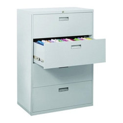 Sandusky Lee 600 Series 36 Inch 4 Drawer Lateral File - A top choice for home or office storage, the traditionally styled Sandusky Lee 600 Series 36 Inch 4 Drawer Lateral File is packed with special features to keep your files secure and neatly organized. Built with durable, commercial-grade welded steel, the cabinet features four massive 19.25-inch drawers equipped to hold letter and legal files on side-to-side hanging rails. Drawers feature rolled edges for strength, rigidity and safety, and they fully extend on steel ball-bearing suspension slides with three telescoping sections.Drawer fronts are reinforced with steel and outfitted with aluminum handles. A center lock secures both sides of each drawer with the easy turn of a single key (two are included). The file cabinet stays firmly in place with a built-in anti-tipping interlocking system, and an inner counterweight allows only one drawer to open at a time. Neutral powder-coat finishes fit into any design scheme, and the cabinet arrives fully assembled so you can start storing immediately. ANSI/BFMA rated.About Sandusky Cabinets and Lee MetalSandusky Cabinets and Lee Metal have been major suppliers of steel storage solutions for nearly 70 years. Their diverse product line is tailored to the specific needs of office, commercial, industrial, and educational markets while ensuring low logistics costs and fast delivery times, which means the products are handled a minimal number of times in transit.Please note this product does not ship to Pennsylvania.