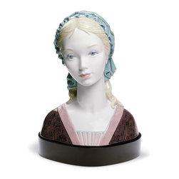 """Lladro Porcelain - Lladro Bright Eyes Figurine - Plus One Year Accidental Breakage Replacement - """" A beautiful face of a young girl dressed in a rennaissance style dress and covering her hair with a green veil. A rennaissance beauty is a concept used in Art to describe those portraits, specially about young ladies and madonnas, that convey a serene and calmed attitude. The piece expresses beauty and a calmed look. The purity of the face and the look of the eyes convey a much more perfect beauty. The piece is almost life size.  Hand Made In Valencia Spain - Sculpted By: Fulgencio Garcia - Included with this sculpture is replacement insurance against accidental breakage. The replacement insurance is valid for one year from the date of purchase and covers 100% of the cost to replace this sculpture (shipping not included). However once the sculpture retires or is no longer being made, the breakage coverage ends as the piece can no longer be replaced. """""""
