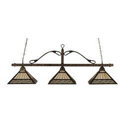 "Toltec - Toltec 423-BRZ-982 Bronze Finish 3-Light Square Bar - Toltec 423-BRZ-982 Bronze Finish 3-Light Square Bar with 14"" Greek Key Tiffany Glass"