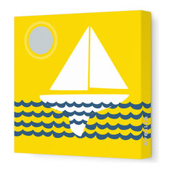 "Avalisa - Things That Go - Sailing Stretched Wall Art, 12"" x 12"", Yellow Blue -"