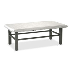 "HomeCrest - Homecrest 26 x 44 Rectangular Fire Pit Table Cover (ZMT-HMC9286) - The Homecrest 26"" by 44"" Rectangular Fire Pit Table Cover is ideal for keeping your fire pit protected from the likes of sun damage and the rain, and a means to keep the beauty of its surface free from dust and scratches when not in use. This cover is meant for both the Midtown and Trenton Chat Height LP Burner Fire Pits and comes in a standard white color.  Features:"