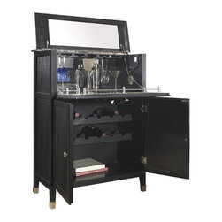 None - Black Painted Wine Bar Chest - This black painted finish wine bar chest features two functional doors and a drop down top door. The chest offers elegant nickel finished hardware.