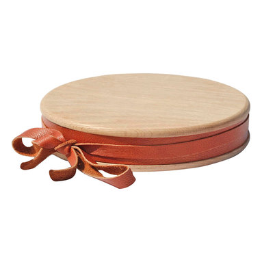 Amoretti Brothers - Amoretti Brothers Cutting Board with Leather, 11.8 - Wooden cutting board with leather trim.  It can also be used as cheese board. Available in three different sizes.