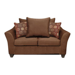 Chelsea Home - Kendra Medium Loveseat - Upholstered in victory chocolate, brancusi ruby with victory sepia welt. No sag steel springs. 1.5 density dacron wrapped cushions. Made from hardwood and engineered wood. Made in USA. No assembly required. 64 in. L x 35 in. W x 38 in. H (135 lbs.)