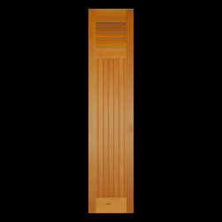 """Kestrel Shutters & Doors - Closet Doors - These custom sized doors are based on a European style of shutter.  Each door, regardless of height, will have 12"""" of fixed louvers at the top for ventilation.  The rest of the door is true Tongue & Groove boards to offer sound insulation."""