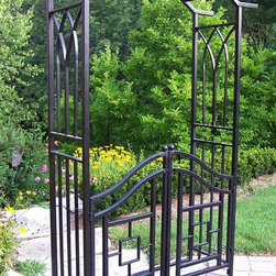 Oakland Living - Royal Arbor w Gate in Black - Mississippi - Made of Durable Tubular Iron Construction. Easy to follow assembly instructions and product care information. Stainless steel or brass assembly hardware. Fade, chip and crack resistant. 1 year limited. Hardened powder coat finish in Black for years of beauty. Black finish. Some assembly required. 46 in. W x 17.5 in. L x 78 in. H (51 lbs.)Our arbors are the perfect edition to any setting. Adds beauty and style with functionality to any walk or entrance way.