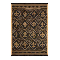 Manual - Cambridge Fleur De Lis Tapestry Throw Blanket 48 Inch x 60 Inch - This multicolored woven tapestry throw blanket is a wonderful addition to your decor. Made of cotton, the blanket measures 48 inches wide, 60 inches long, and has approximately 1 1/2 inches of fringe around the border. The blanket features a checkerboard Fleur di Lis print. Care instructions are to machine wash in cold water on a delicate cycle, tumble dry on low heat, wash with dark colors separately, and do not bleach. This comfy blanket makes a great housewarming gift that is sure to be loved.