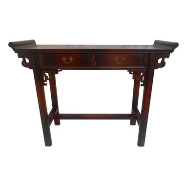 Oriental furnishings - Asian Wing Top Table with Key Carving and Two Drawers - Our Asian altar table is styled in the Chinese Qing style with its simple design yet accented with key carving and heaven pointed wing tops. Used as a center focal point in Asian interiors this fine furniture item will also enhance your room. Use this table as a sofa table, entry way table, server or vanity in the bedroom. Brass pulls on the drawer's add yet another element to this sunburst finished table. The finish is of deep rosewood grain with sunburst finish in a scratch resistant lacquer. In order to prevent shipping damage we have designed this table with removable legs for safe shipping , simple assembly is required.