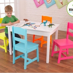 KidKraft - Highlighter Kids' 5 Piece Table and Chair Set - Our highlighter table and chair set really knows how to get your attention! This adorable new furniture set gives kids a perfect workspace for playing games, completing homework or even eating a delicious snack. Features: -Set includes: Table and 4 chairs. -Composite wood construction. -Smart, sturdy construction. -Chairs slide under the table to conserve space when it's not being used. Instructions