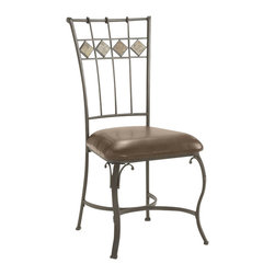 Hillsdale - Hillsdale Lakeview Slate Back Dining Side Chairs (Set of 2) - Hillsdale - Dining Chairs - 4264802 - Rustic textures and colors combine to create Hillsdale Furniture��s Lakeview dining collection. Boasting a striking fusion of medium oak wood coppery brown metal and a dynamic slate inlay in the center of the table this group also features many options to customize your own ensemble from a wood top chair or baker rack to a slate topped chair or baker rack with a diamond motif and a rectangle rounded edge or round table. Boasting easy to maintain and versatile brown faux leather seats a pretty scrolled chair and a rounded table bases with corresponding slate accents. This unusual ensemble also includes a coordinating sideboard or wine bar and matching 360 degree swivel bar and counter stools. Composed of heavy gauge tubular steel solid wood edges climate controlled wood composites and veneers this unique group is a perfect addition to your home.