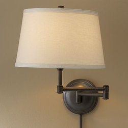 """CFL Chelsea Swing-Arm Sconce Base with Bisque Shade, Bronze finish - Our Chelsea Swing-Arm Sconce Base has a ball-jointed design for easy adjustment. Sconce Base: 19.5"""" long x 6"""" wide x 16.75"""" high Cast of metal. Plug-in. Hi/lo switch on socket. Top any of our Mix & Match (R) Small shades (sold separately). Title 20 compliant lamps will be shipped to CA addresses. {{link path='pages/popups/california_code_popup.html' class='popup' width='480' height='300'}}Learn more{{/link}} to understand product differences. UL-listed. Catalog / Internet Only."""