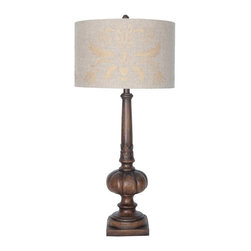 """Guildmaster - Castille Lamp by Guildmaster - A grooved wooden table lamp with carved detail is masterfully finished in espresso stain. The linen drum shade features artful cartouche stenciling in metallic gold. Whether in need of a well lit area or soft mood lighting, the 3-way switch offers versatility. (GM) 15"""" diameter x 34"""" high Shade: 15"""" diameter x 9.5"""" high 3-way - 150W bulb"""
